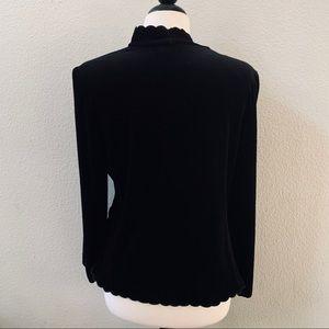 ACTIII Vintage velvet scalloped trim black blazer